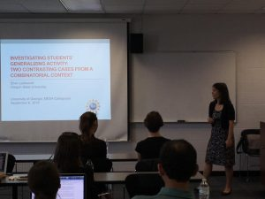 Dr. Elise Lockwood introducing her colloquium on September 8, 2016